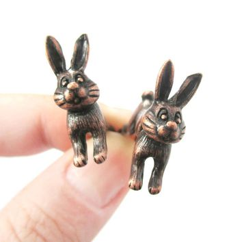 Fake Gauge Earrings: Cute Bunny Rabbit Animal Shaped Plug Earrings in Copper