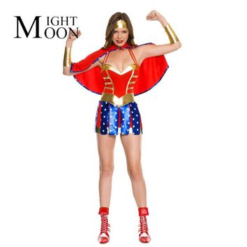 MOONIGHT Sexy Adult Ladies Hero Girl Costume Dc Comic Wonder Woman Superhero Cosplay Outfit Halloween Fancy Party Dress