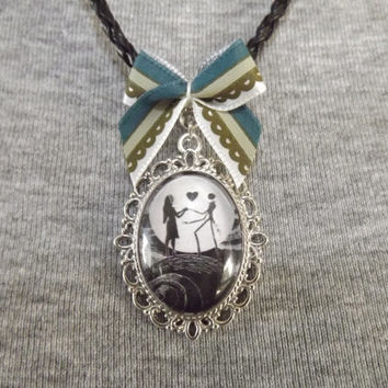 Nightmare Before Christmas Jack and Sally Cameo Necklace