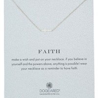 Women's Dogeared 'Reminder - Faith' Sideways Cross Pendant Necklace