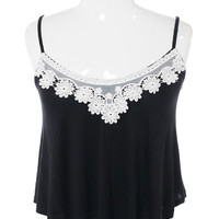 Plus Size Breezy Knit Floral Lace Black Cami, Plus Size Clothing, Club Wear, Dresses, Tops, Sexy Trendy Plus Size Women Clothes