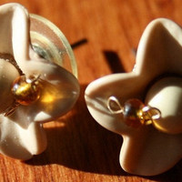 post earrings cream colored porcelain roses with by rocksntwigs