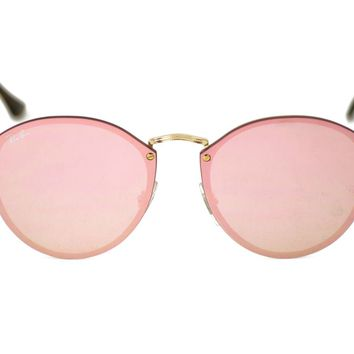 Ray-Ban RB3574N Blaze Round 001/E4 Gold Frame/Pink Mirror Lenses Unisex Sunglass