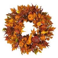 "Nearly Natural 28 in"" Harvest Wreath"