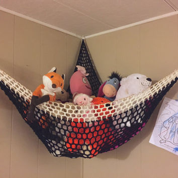 Crochet Stuffed Animal Hammock / Kid's Room Storage Net / Decor Organization