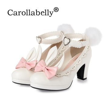 Sweet Princess Party Shoes Solid Leather Women Pumps Cosplay Rabbit Thick Heels Buckle