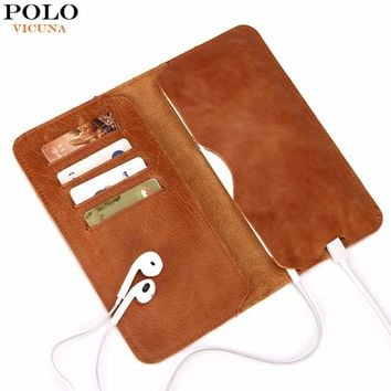 VICUNA POLO Genuine Leather Wallet Simple Ultrathin Men's Long Wallet For 5.5inch Phone Real Cow Leather Man Wallet carteira