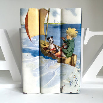 Boy in a Boat Classic Books, Books for Boys, Children's Classics, Decorative Books for Children, Nursery Decor, Boys Books, Baby Shower Gift