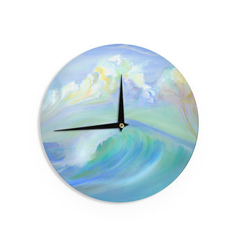 "Theresa Giolzetti ""Jelly Fish"" Blue Teal Wall Clock"
