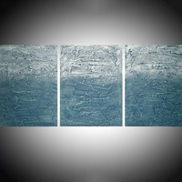"""ARTFINDER: extra large triptych 3 panel wall decor art impasto minimalist textured """"Turquoise Triptych  """" panel canvas wall abstract canvas pop abstraction 54 x 24 """" by Stuart Wright - triptych abstract painting decor, 3 piece canva..."""