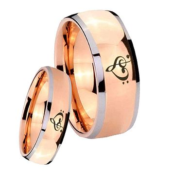 His Hers Rose Gold Dome Music & Heart Two Tone Tungsten Wedding Rings Set
