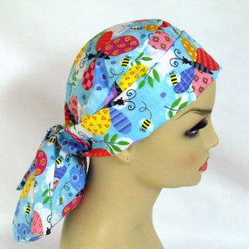 Womens Pony Pouch Surgical Scrub Cap Butterflies and Bees