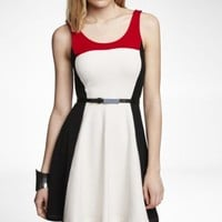 COLOR BLOCK STRETCH COTTON SKATER DRESS
