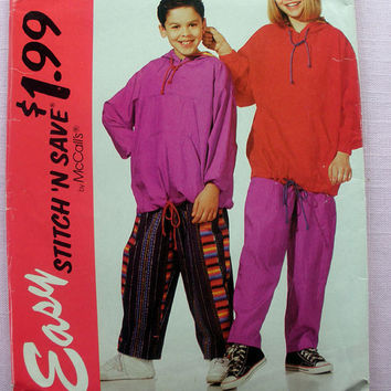 Boys' and Girls' Hoodie Sweatshirt and Pants Size Small and Medium Size 7, 8, 10 McCall's Stitch 'N Save 6645 Sewing Pattern Uncut