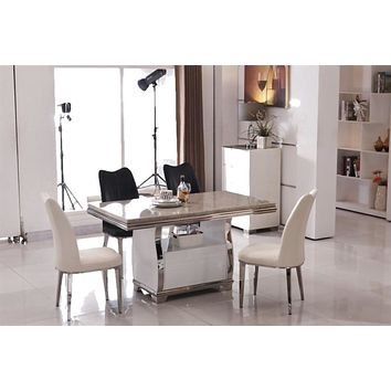 Luxury Silver Marble Modern Dining Table Set