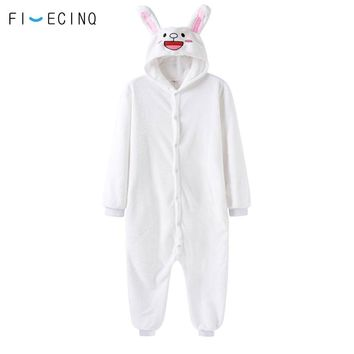 Animal White Rabbit Kawaii Onesuit Pajama Women Girl Loose Jumpsuit Soft Warm Cartoon Bunny Character Cosplay Costume Adult Suit