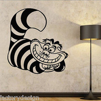 Vinyl Wall Decals Alice in Wonderland Cheshire Cat fairytale famous Smile Grin
