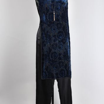 1920s Electric Blue Devore Velvet Burnout Tunic Dress