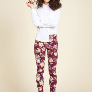 Slow and Edgy Wins the Race Pants in Burgundy Floral