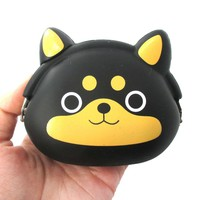 Black Shiba Inu Puppy Dog Shaped Mimi Pochi Animal Friends Silicone Clasp Coin Purse Pouch