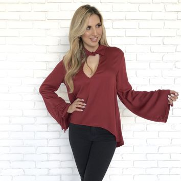 Respected Wine Long Sleeve Blouse