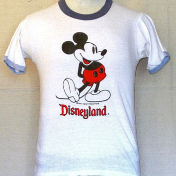 Vintage Burnout 80s MICKEY MOUSE GRAPHIC Disneyland  Men Women Small White Thin Soft Ringer T-Shirt