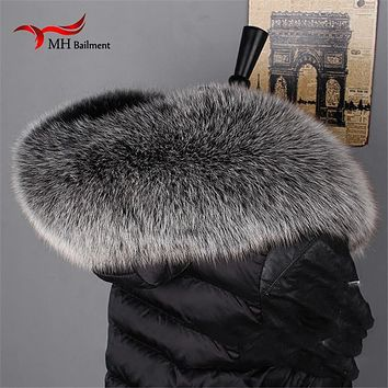 Winter 100% Genuine Real Natural Fox Fur Collar Women Scarf Fashion Coat Sweater Scarves Luxury Raccoon Fur Neck Cap L#60