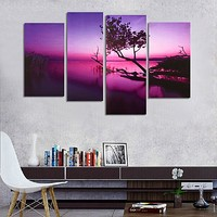 4PCS Purple Lake Canvas Oil Painting Unframed Bedroom Living Room Home Decor