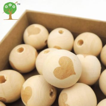 30pcs wood round ball  HEART VALENTINE'S DAY LOVE bead shaped burnt engrave diy accessory wooden craft for teether EA151-1
