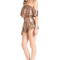 Glam to the Bone Off Shoulder Sequin Romper