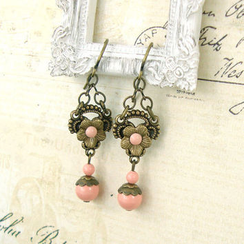 Dainty Peach Victorian Earrings - Antique Style Swarovski Earrings - Antique Brass Floral Earrings - Peach Victorian Jewelry