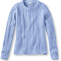 Double L Cotton Sweater, Long-Sleeve Cable Crewneck