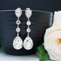 Wedding Bridal Jewelry Bridal Earrings Bridesmaid Dangle Earrings Gifts Clear White Swarovski Crystal and Cubic Zirconia Tear drops