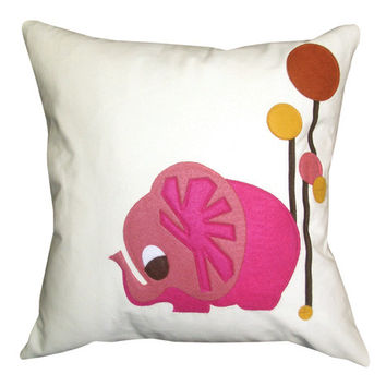 Pink Elephant Applique Throw Pillow