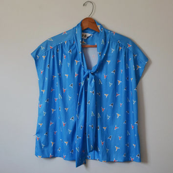 Vintage 70s Secretary Blouse Blue Abstract Print Bow Ties in the Front Abstract Shirt Retro Shirt Size XXL Plus Size