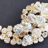 "Juliana Brooch Pin Confirmed D&E Clear Rhinestones + Crystal Beads Gold Metal Vintage 2.5"" VG"