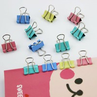 15mm Colorful Metal Binder Clips Paper Clip Books Office Stationery Supplies Color Random 1pcs