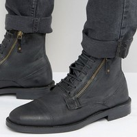 ASOS Lace Up Boots In Black Suede With Zip Detail at asos.com