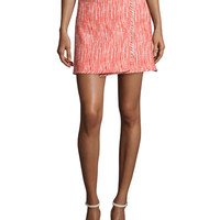 Carven Tweed Zip-Front Skirt, Poppy