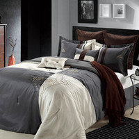 Hipster King Luxury Bedding Set- Charcoal Gray / Ivory / Chocolate