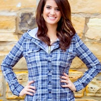 Drop The Tailgate Plaid Hooded Flannel // Faded Navy