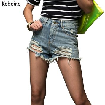 Plus Size Fashion Short Jeans 2017 Summer Women High Waist Denim Shorts Frayed Hole Female Flash Short Pants XS-5XL Pantalones