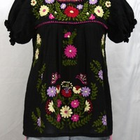 """La Mariposa Corta de Color"" Embroidered Mexican Blouse - Black"