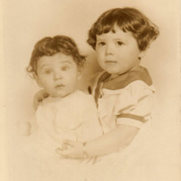 Antique Photograph of Brother and Sister / Old Photo of Two Toddlers