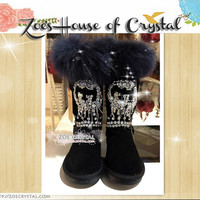PROMOTION WINTER Black Fashionable Cuff Sheepskin Fleech/Wool Boots with Swarovski / Czech Rhinestones and Crystals