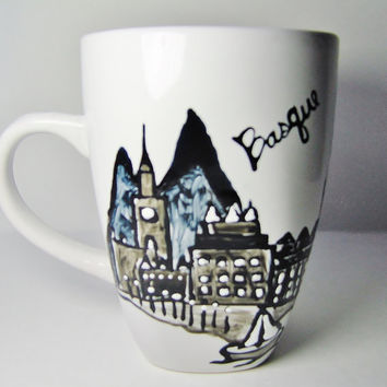 Custom Long Distance Mug, Basque Country Skyline, Personalized Housewarming Gift State Mugs Cityscape, Skydiver, Hand Painted Mug