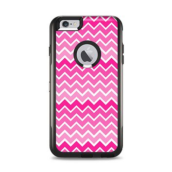 The Pink & White Ombre Chevron V2 Pattern Apple iPhone 6 Plus Otterbox Commuter Case Skin Set