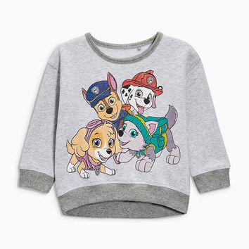 Little Maven Brand 2017 Fashion Cute Long Sleeve Autumn Gray T shirt For Boys Girls With Cartoon Dogs thick o-kneck T shirt