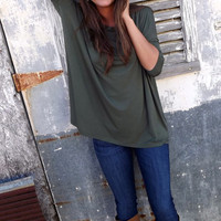 Army Green 3/4 Sleeve Piko | The Rage
