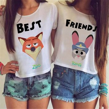 Best Friends Fox Rabbit Crop Top